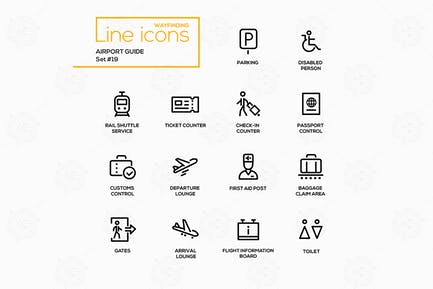 Airport Guide - modern vector line icons set