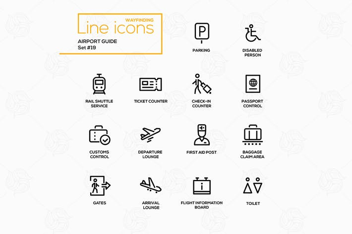 Thumbnail for Airport Guide - modern vector line icons set