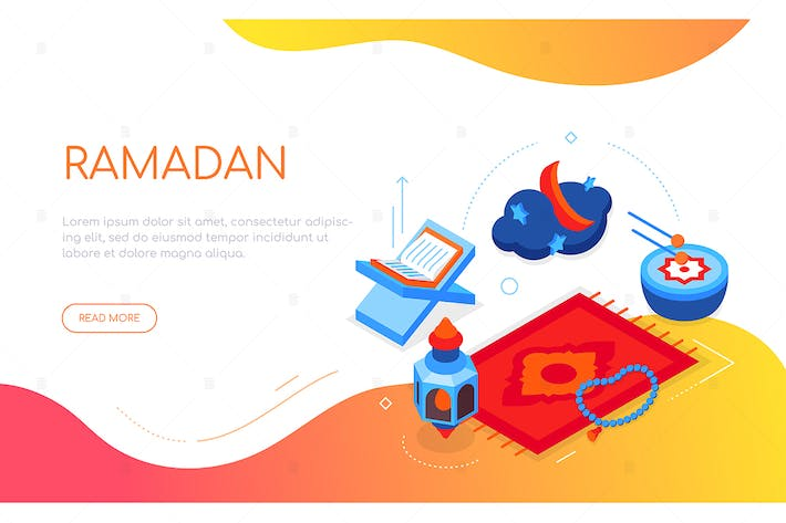 Thumbnail for Ramadan - modern colorful isometric web banner