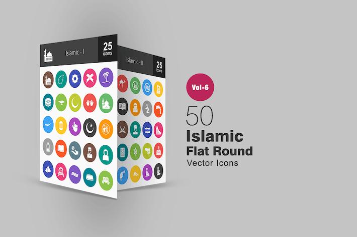 50 Islamische Glyphe Mehrfarben BG Icons