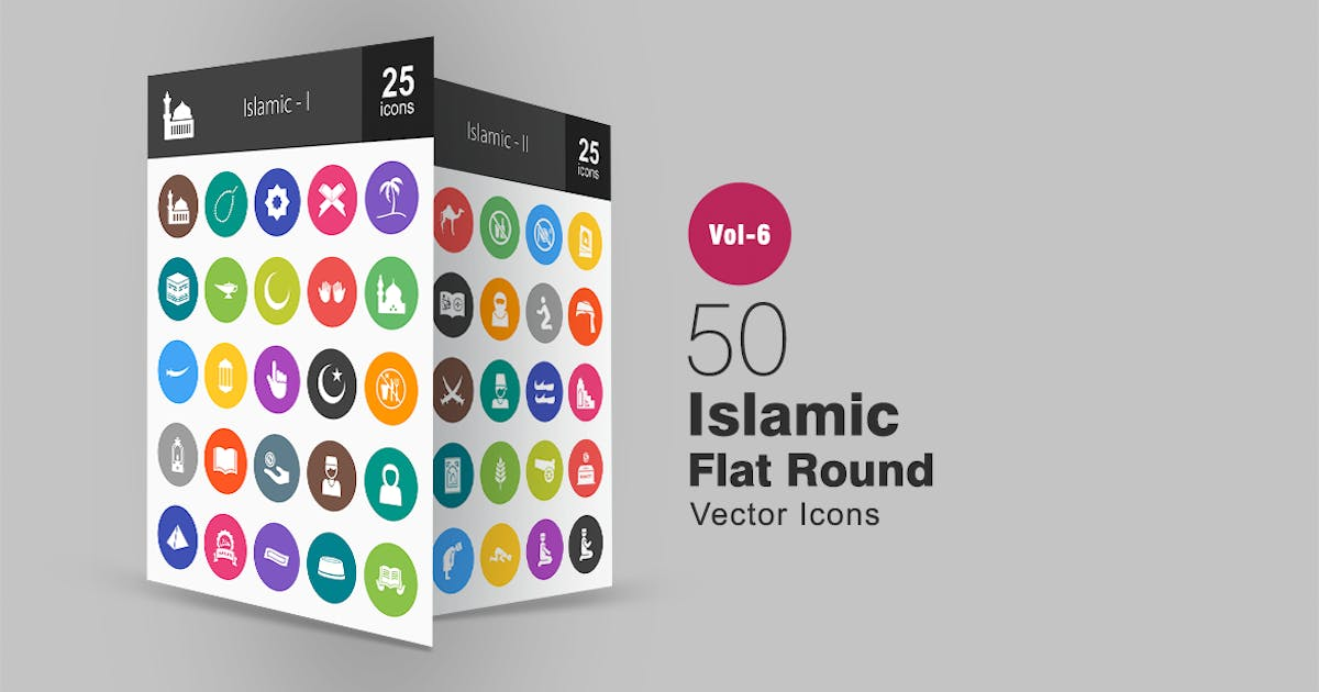 Download 50 Islamic Glyph Multicolor BG Icons by Unknow