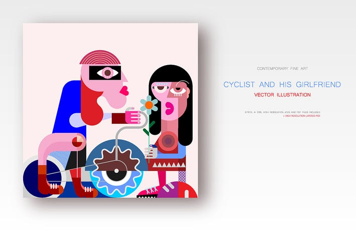 Thumbnail for Cyclist and his girlfriend vector illustration