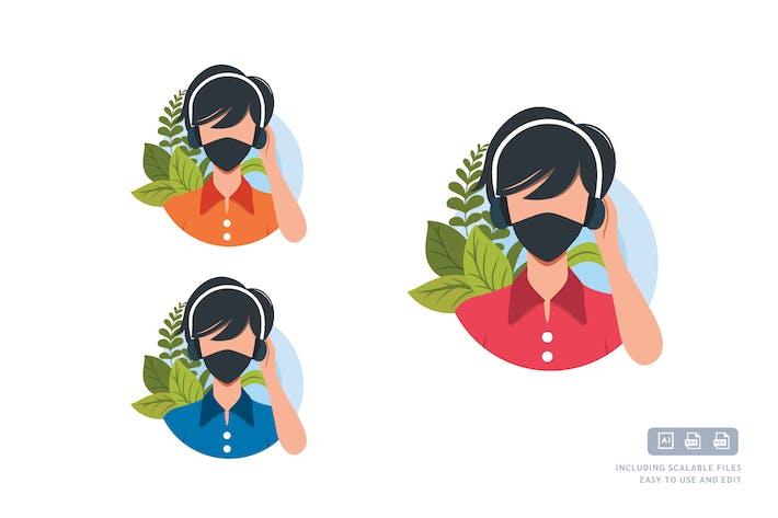 Pandemia Personas - Plantilla de ilustración de avatar