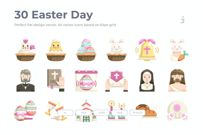 Thumbnail for 30 Easter Icons - Flat