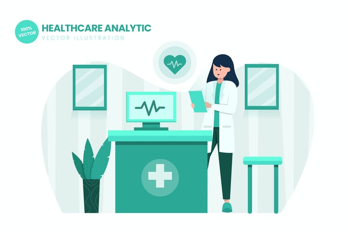 Thumbnail for Healthcare Analytic Flat Vector Illustration