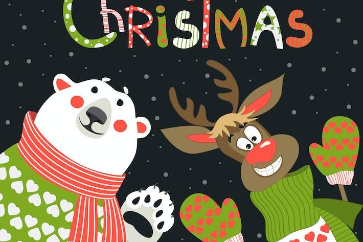 Thumbnail for Reindeer and polar bear celebrating Christmas