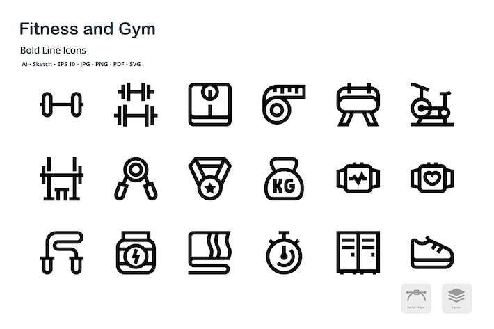 Thumbnail for Fitness and Gym Mini Bold Line Vector Icons