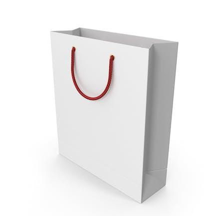 Белая сумка для покупок с красными ручками