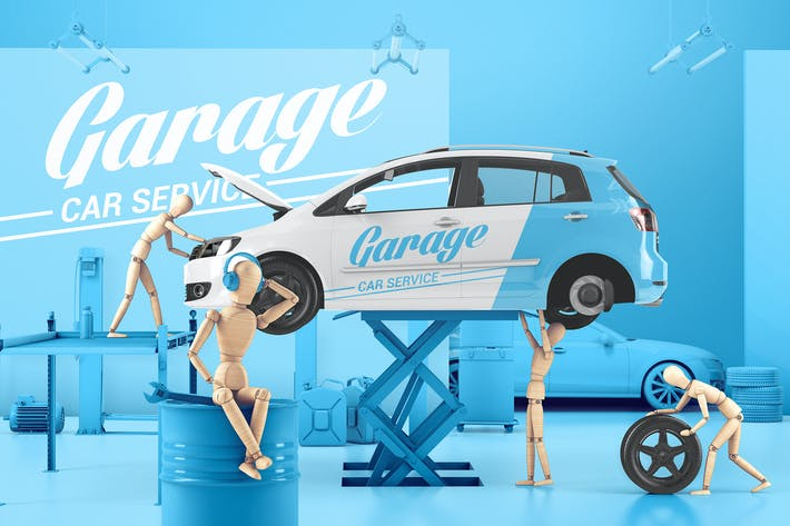 Thumbnail for Car Service With Wooden Men Mockup