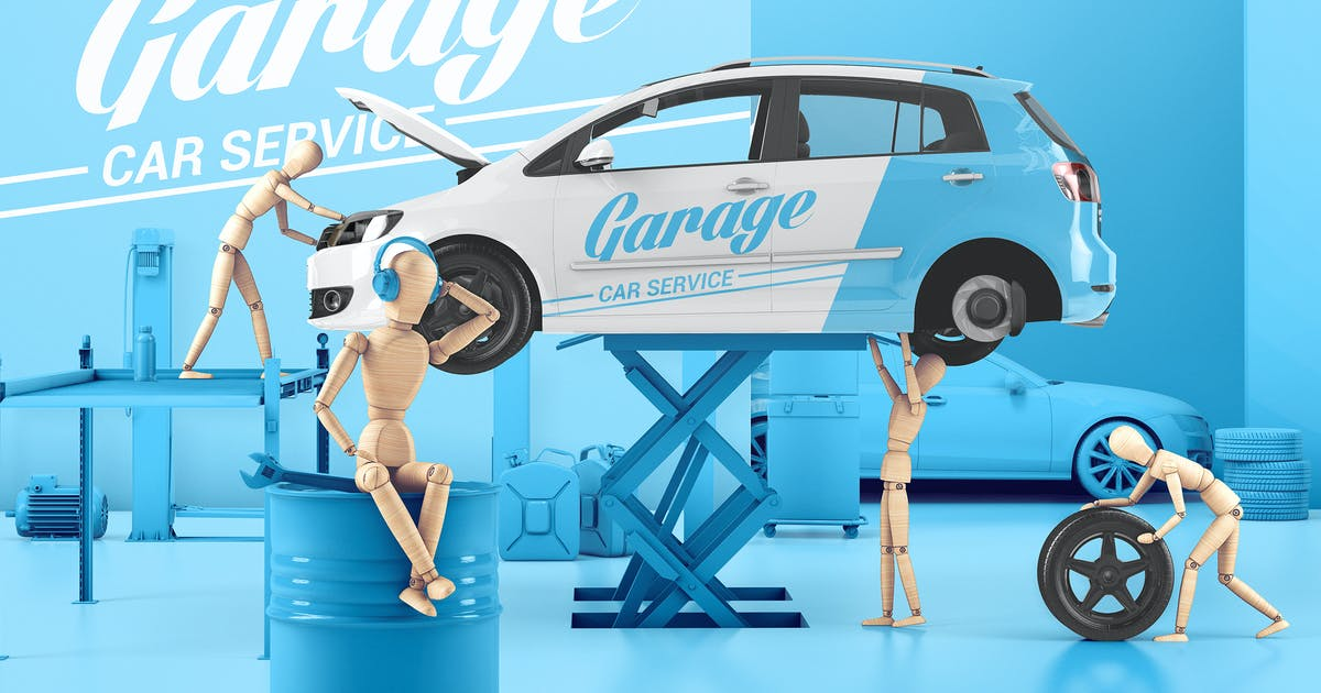 Download Car Service With Wooden Men Mockup by StreetD