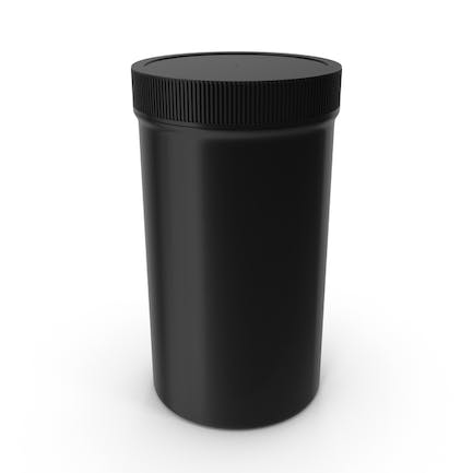 Plastic Jar Wide Mouth Straight Sided Tall 32oz Closed Black