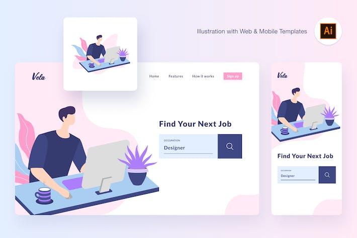 Thumbnail for Working illustration (Illustrator, SVG)