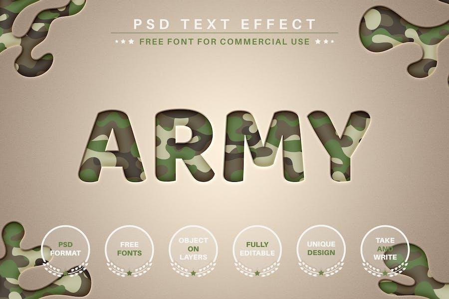 Ejército - PSD Efecto de texto editable, estilo de fuente