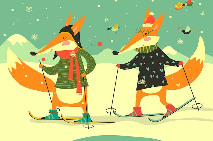Thumbnail for Cute foxes skiing on the piste. Happy winter