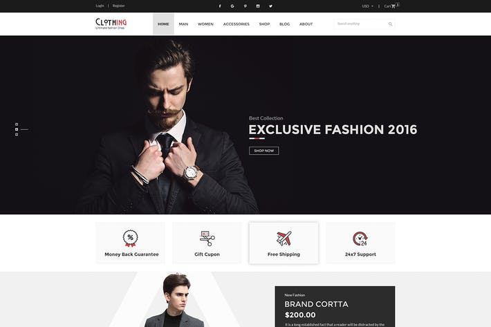 Cover Image For Clothing - eCommerce PSD Template