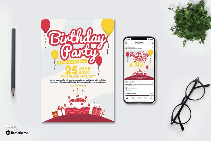 Thumbnail for Birthday Party - Flyer & Instagram Post GR