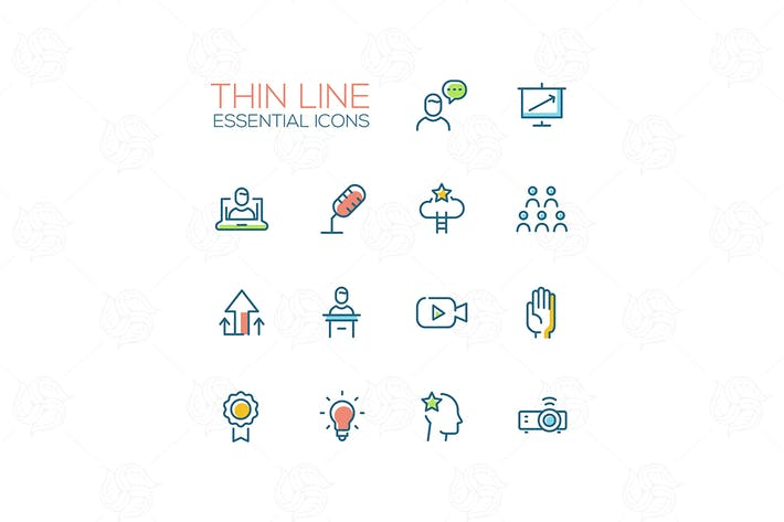 Thumbnail for Business Training - Thin Single Line Icons Set