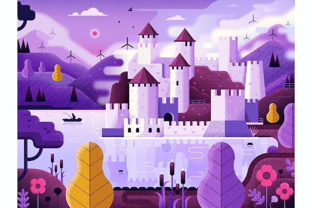 Fantasy Castle on Mountain Lake