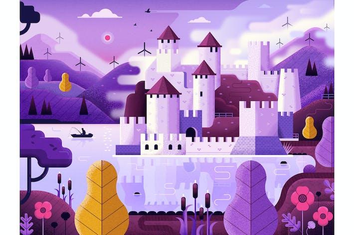 Thumbnail for Fantasy Castle on Mountain Lake