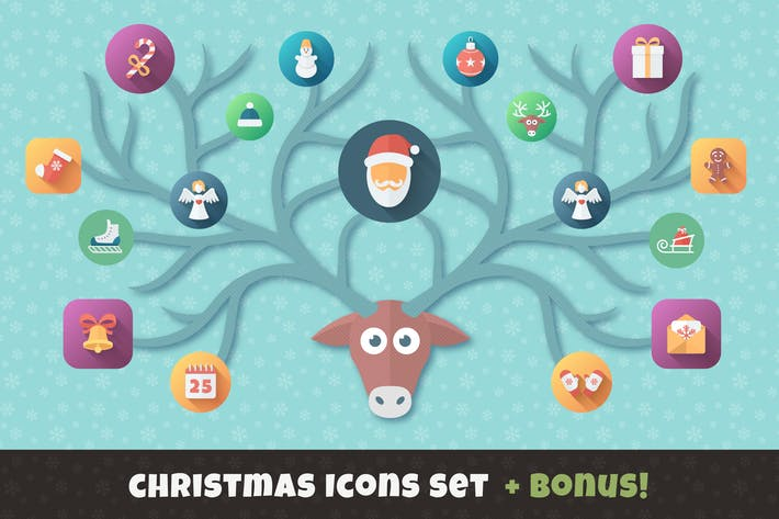 Cover Image For Christmas Flat Set | Vector Icons Bundle