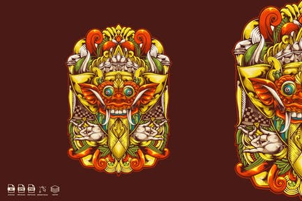 barong mask illustration logo