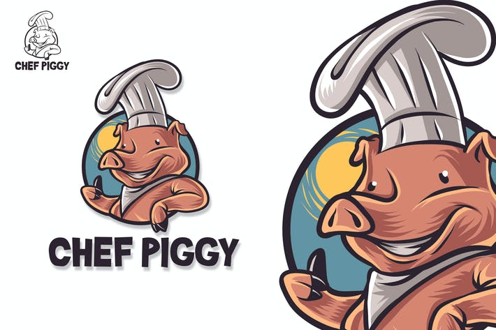 Thumbnail for Chef Pig Mascot Logo