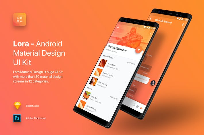 Thumbnail for Lora - Android Material Design UI Kit