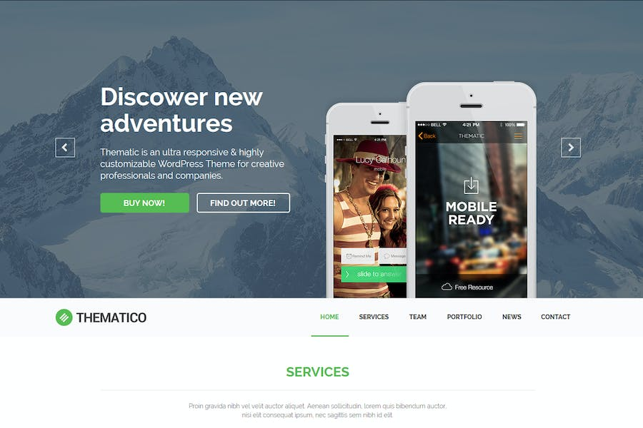 Thematico - One Page MUSE Template