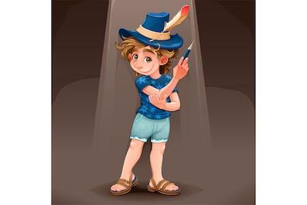 Magier Kind mit blauem Hut