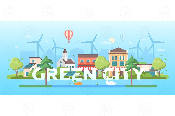 Thumbnail for Green city - flat design style vector illustration
