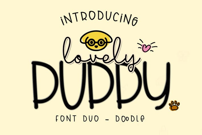 Thumbnail for Lovely Puppy - Font duo with bonus