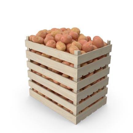 Kisten mit roten Kartoffeln