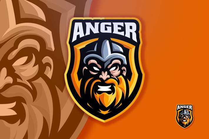 Thumbnail for Viking Head Angry Sport & Esport Logo