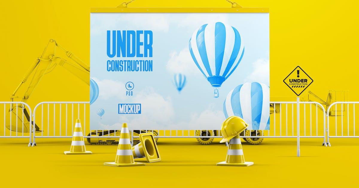 Download Under Construction Board Mockup by StreetD