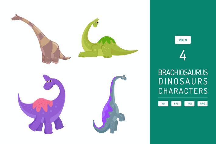 Thumbnail for Niedlicher Brachiosaurus - Dinosaurier Charakter Vol.9