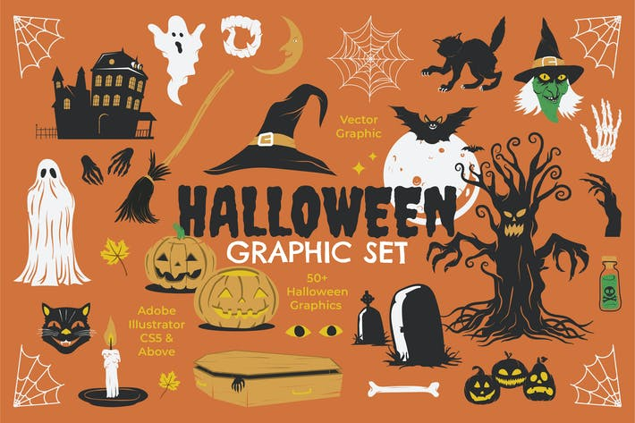 Thumbnail for Halloween Graphic Set + Extra Badges & Frame
