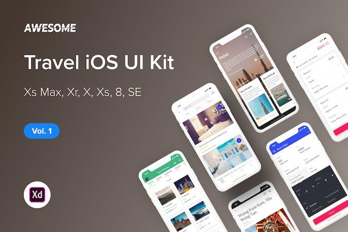 Thumbnail for Awesome iOS UI Kit - Travel Vol. 1 (Adobe XD)