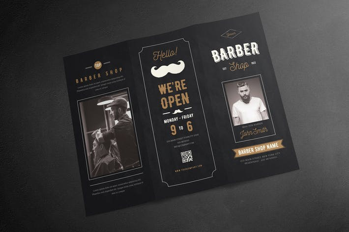 Thumbnail for Blackboard Trifold Barbershop Brochure