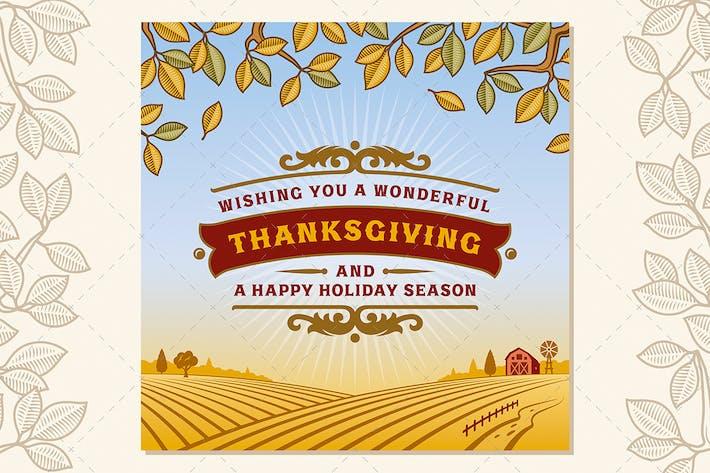 Thumbnail for Ретро поздравительная открытка на День благодарения