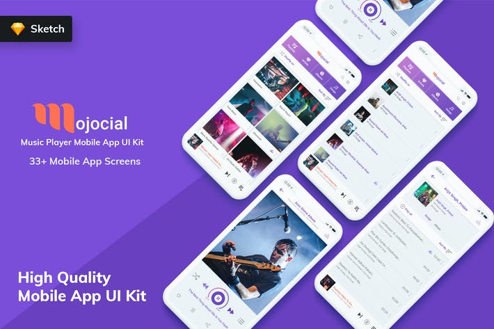 Cover Image For Mojocial - Music Player Mobile App UI Kit (Sketch)