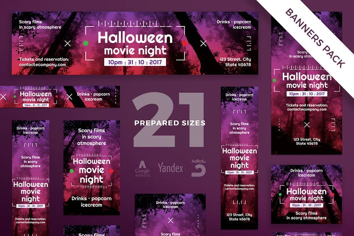 Cover Image For Halloween Movie Night Banner Pack Template