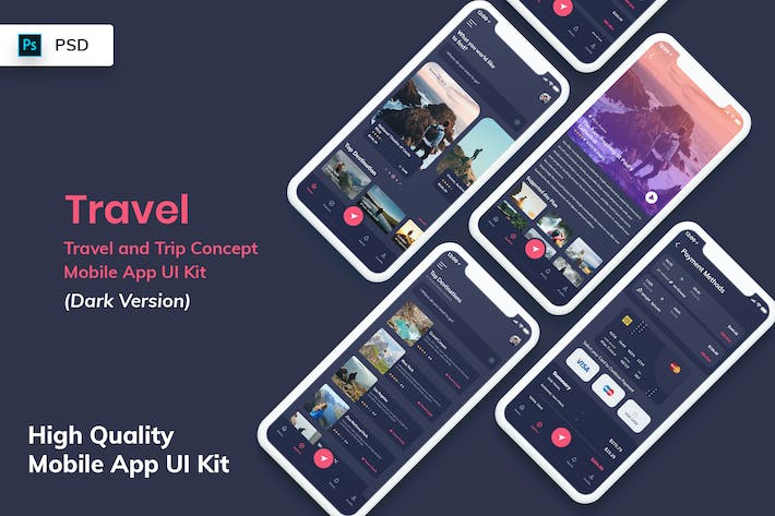 Thumbnail for Travel Mobile App UI Kit Dark Version