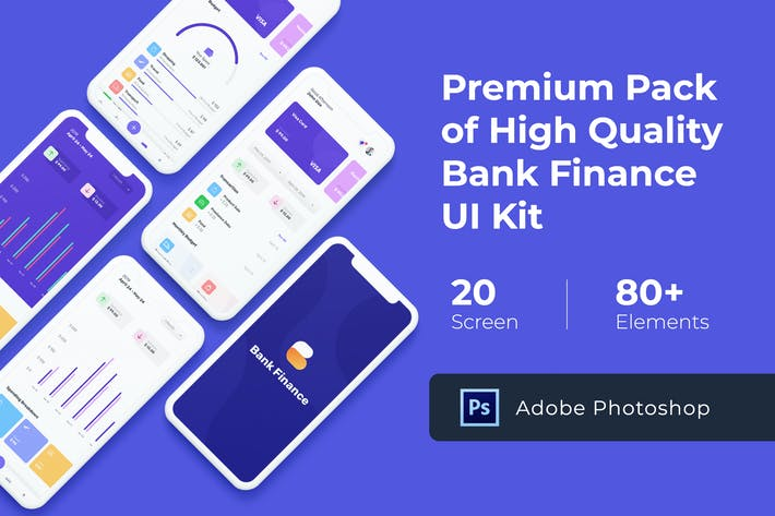 Cover Image For Bank Finance UI KIT for Photoshop
