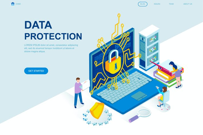 Thumbnail for Data Protection Isometric Landing Page Template