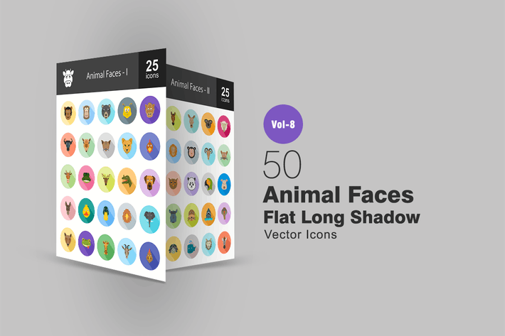 Thumbnail for 50 Faces Animal Plat Ombré Icones