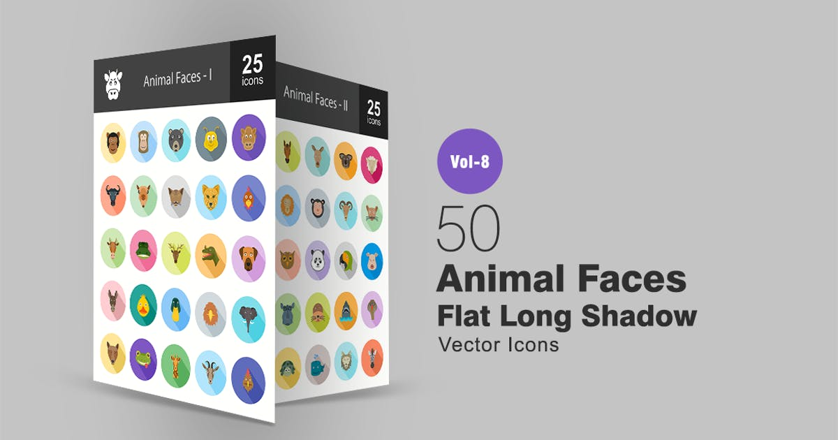 Download 50 Animal Faces Flat Shadowed Icons by IconBunny