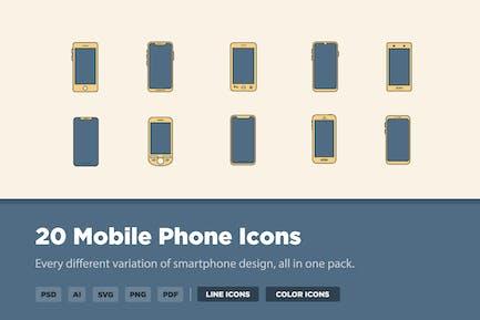 20 Icons für Mobiltelefone