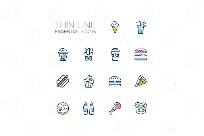 Cover Image For Fast Food - modern vector thin line icons set