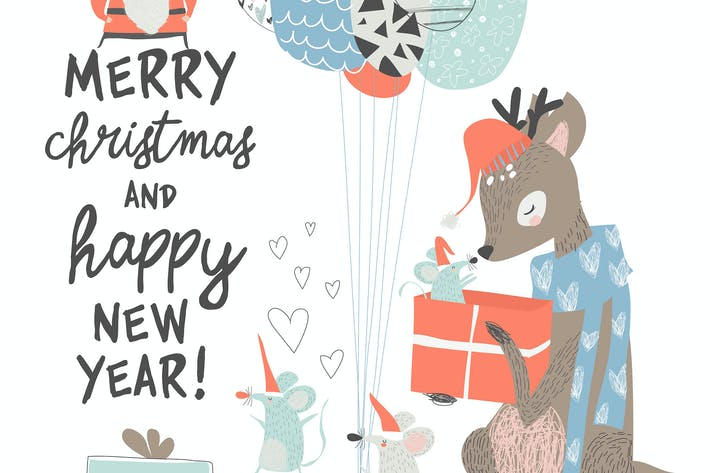 Thumbnail for Vector Greeting Christmas card with cute deer and