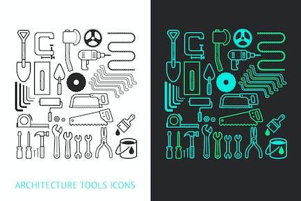 Architektur und Bauwerkzeuge Icons Set.
